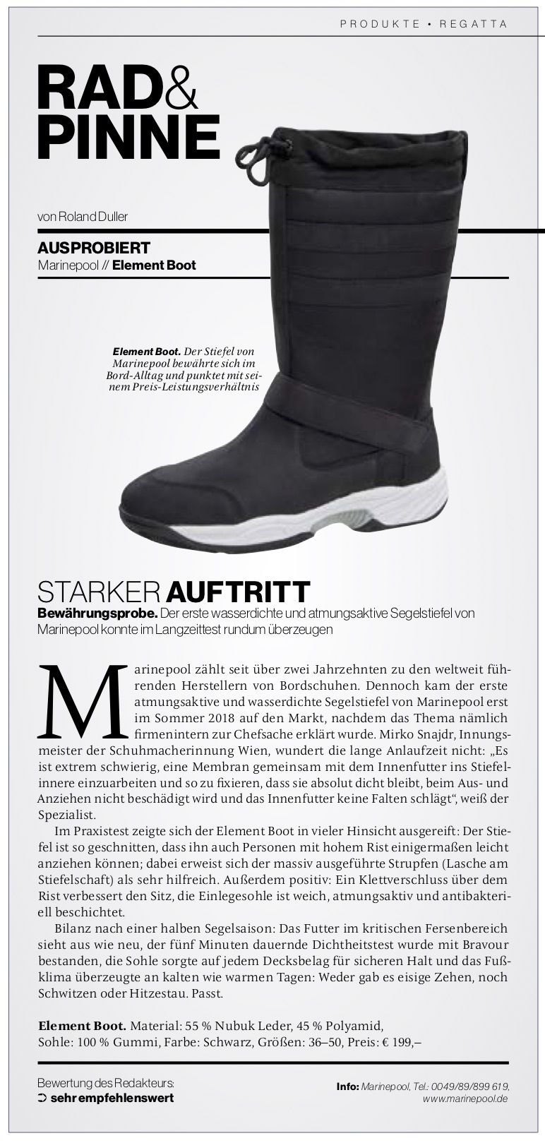 Yacht Revue - Testbericht Marinepool Element Boot